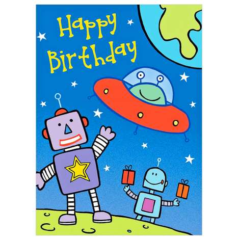 Garlanna Greeting Cards Code 50 - Birthday Robot