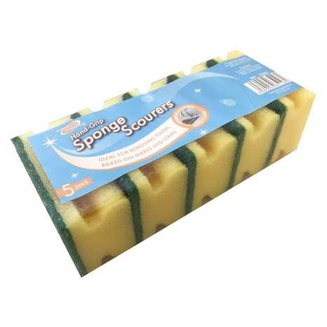 H/ess 5 hand grip sponge scourers - 83500