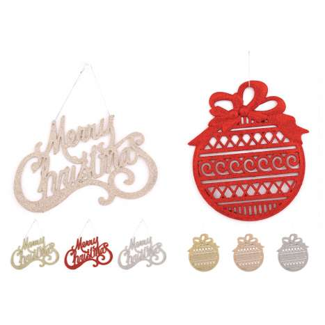 Large glitter & Merry Christmas decoration - assorted designs