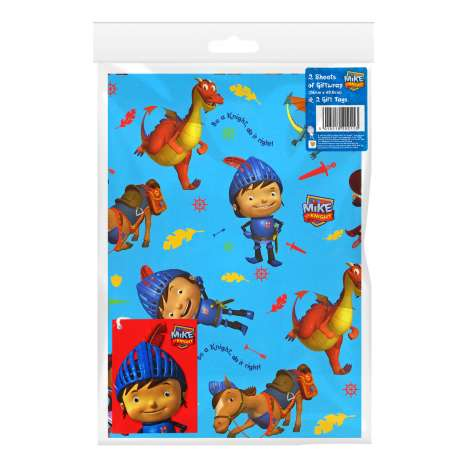 Gift Wrap 2 Pack + 2 Tags - Mike the Knight (50cm x 69.5cm)