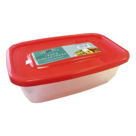 Homeware Essentials Plastic Food Containers 2 Pack