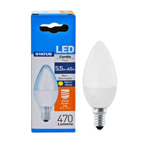 Status LED 5w=40w Candle Small Screw Cap Light Bulb