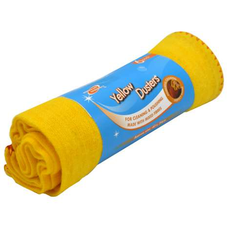 H/ess yellow duster 6PK - 40 x 34cm