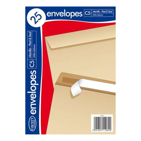 C5 Manilla Peel & Seal Envelopes 25 Pack (229mm x 162mm)