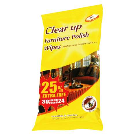 Clear Up Furniture Polish Wipes 24 Pack +25% Extra Free