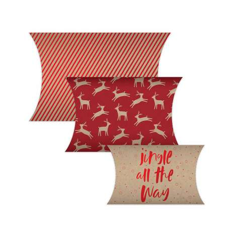 Red Kraft Present Pouches - 3 Pack