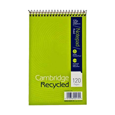Cambridge Recycled Notebook Ruled 120 Pages - 125mm x 200mm