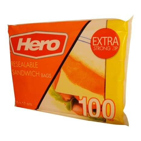Resealable sandwich bags 100PK 16x17cm