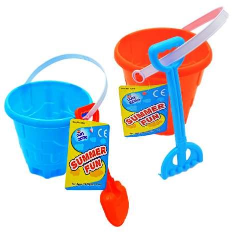 Sand Castle Bucket with Rake or Spade