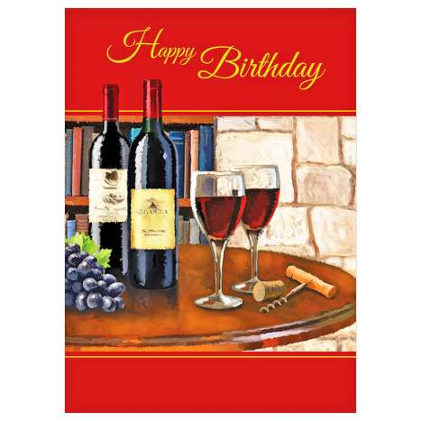 Garlanna Greeting Cards Code 50 - Birthday Wine