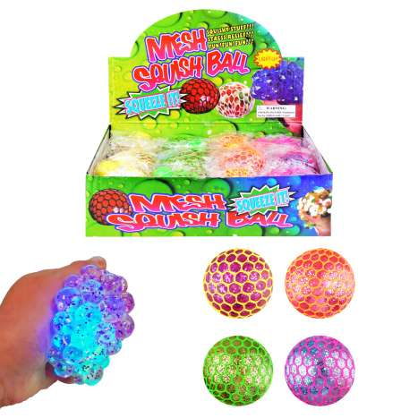 Mesh Glitter Squish Balls 7cm - Assorted Colours