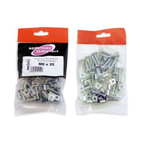Homeware Essentials Roofing Bolts & Nuts (M6 x 25mm)