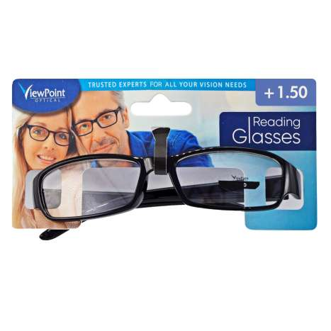 ViewPoint Optical Unisex Black Reading Glasses +1.50