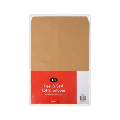 Peel & seal C4 envelopes 18pk (size approx 232x325mm)