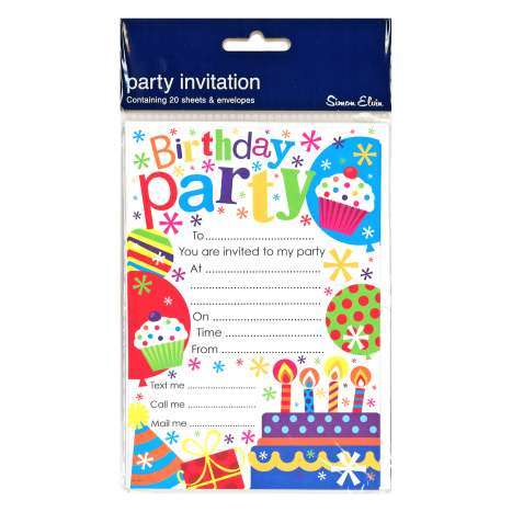 Birthday Party Invitations 20 Pack