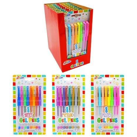 Grafix Gel Pens 8 Pack (Assorted Pastel, Glitter & Metallic)