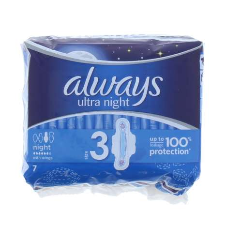 Always Ultra Night Sanitary Pads 7 Pack